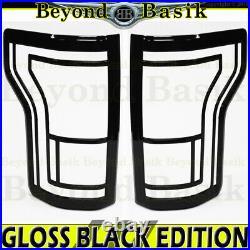 2015-2017 FORD F-150 GLOSS BLACK Tail Light Bezel COVERS witho Blind Spot Sensor