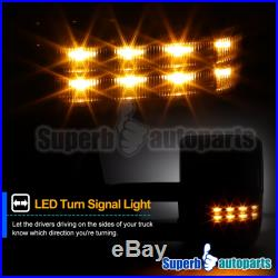 For 07-17 Toyota Tundra Black Power Heat Blind Spot Tow Mirrors+Smoke LED Signal