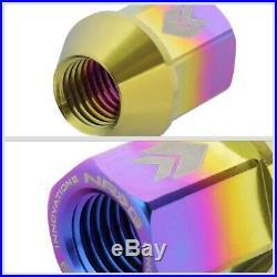NRG T210 Neo Chrome Open End M12x1.25 Titanium Lug Nuts Kit+Blind Spot Mirror