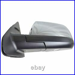 TRQ Mirror Power Fold Heat Signal Memory Blind Spot Puddle Chrome LH for Tundra