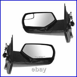 TRQ Upgrade Style Mirror Power Heat Blindspot Chrome Black Pair for Chevy Pickup